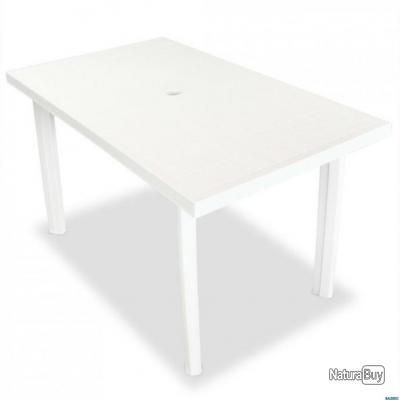 Table de jardin 126 x 76 x 72 cm Plastique Blanc
