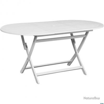 Table De Jardin Blanche.Table De Jardin Blanc 160x85x75 Cm Acacia