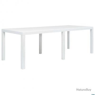 Table de jardin Blanc 220x90x72 cm Plastique Aspect de rotin