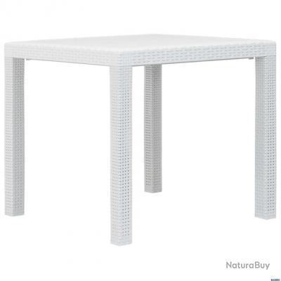 Table de jardin Blanc 79x79x72 cm Plastique Aspect de rotin