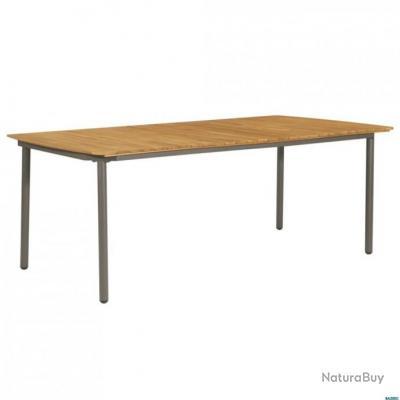 Table de jardin Bois d\'acacia solide et acier 200 x 100 x 72 cm ...