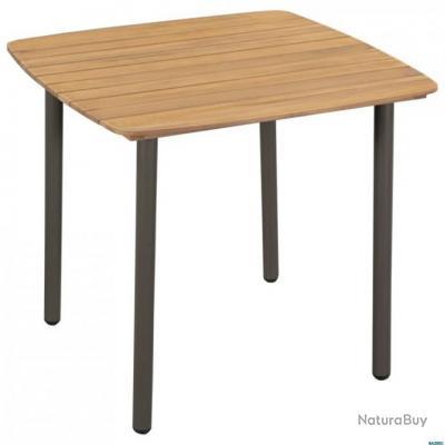 Table de jardin Bois d\'acacia solide et acier 80 x 80 x 72 cm