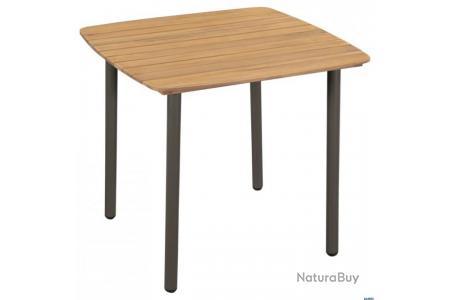Table de jardin Bois d\'acacia solide et acier 80 x 80 x 72 ...