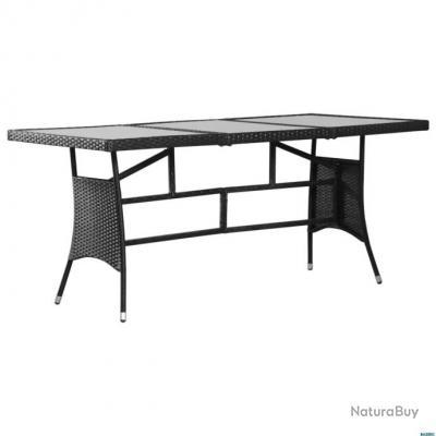 Table de jardin Noir 170x80x74 cm Résine tressée - Tables (5691082)