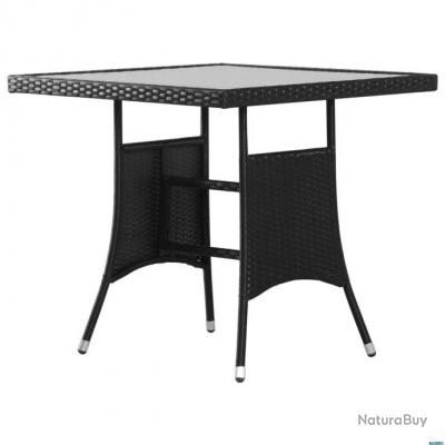 Table de jardin Noir 80x80x74 cm Résine tressée - Art de la table ...