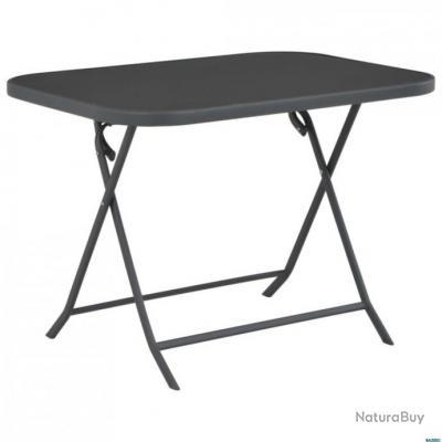 Table de jardin pliable 100x75x72 cm Verre et acier