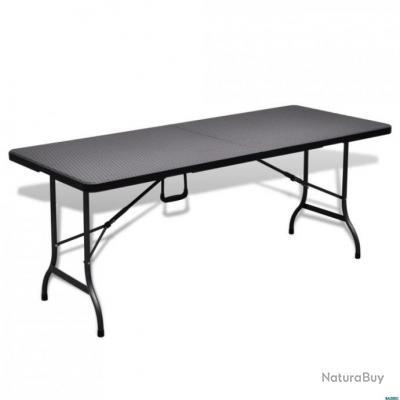 Pliable De Table Imitation 180 Cm Noire Jardin Rotin qVpUMSzG