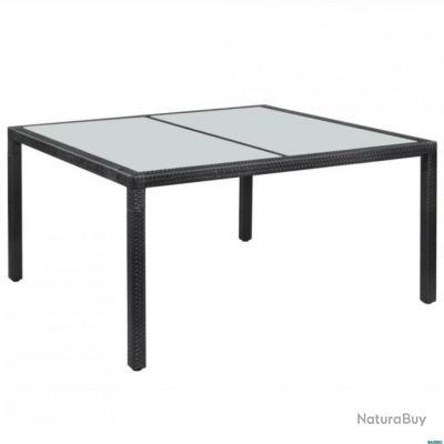 Table de jardin Résine tressée 150 x 90 x 75 cm Noir