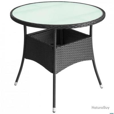 Table de jardin Résine tressée 60 x 74 cm Noir