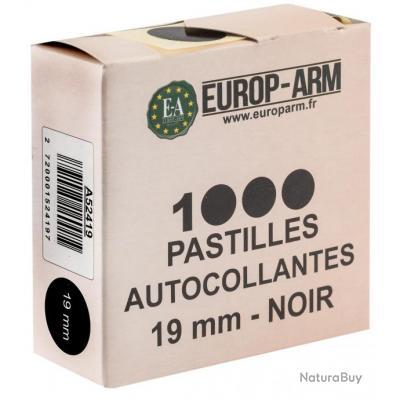 Boite de 1000 pastilles gomettes autocollantes ronde 19mm noires