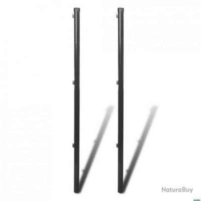 Poteau de clôture pour clôture en mailles 2 pcs 170 cm Gris