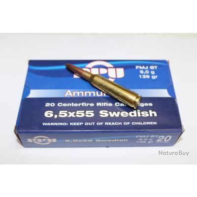20 CARTOUCHES PPU CAL 6.5X55 SWEDISH - 139 GR
