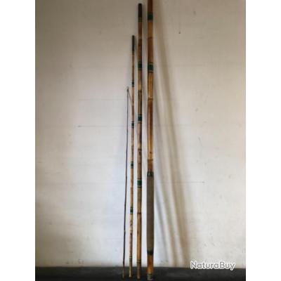 1 canne en bambou clair 4,50  m. emmanchement . peche ancien collection .Occasion.