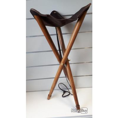 AXEL  5109 TABOURET : TROIS PIEDS  BOIS+CUIR  LUXE NEUF
