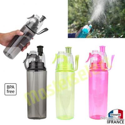Lot de 3 x La gourde qui spray avec vaporisateur brumisateur rechargeable à eau bouteille