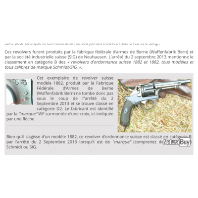 Revolver Suisse 1882 fabrication WF ,Revolver en catégorie D2