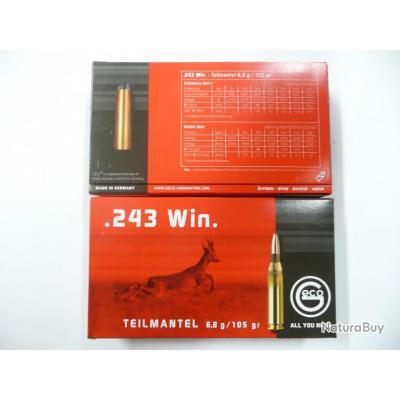 DESTOCKAGE LOT DE 40 BALLES GECO 243W TEIL MANTEL 6;8GR  105GR