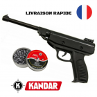 PROMO Pistolet Air Comprimé à Plombs Kandar S3 Cal 5.5mm Crosse Noir + 250 Plombs GAMO LIVRAISON 72h