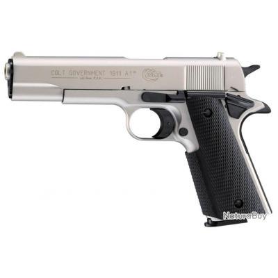 Pistolet 9 mm à blanc Colt Government 1911 A1 nickelé Pistolet à blanc Colt Government 1911 A1-AB111