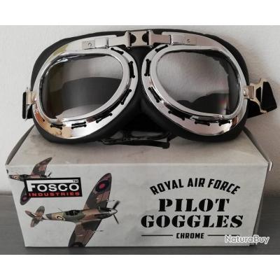 Lunettes Aviateur ROYAL AIR FORCE chromées ( moto biker vespa raf retro  vintage goggles RAF )