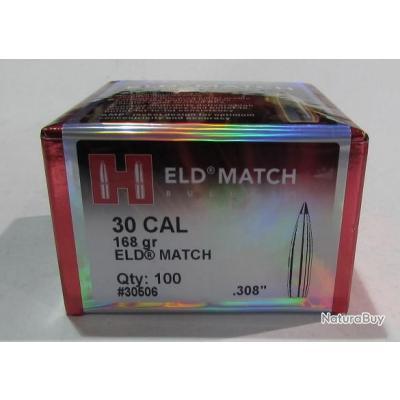 boite 100 ogives Hornady ELD Match, diametre 0 308, poids 168 grs, ref 30506