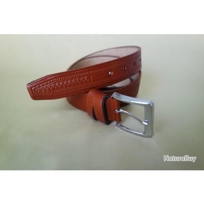 Vintage ceinture en cuir de buffle pour homme robuste,marron,ceinture pour jeans,NouveauTaile 55inch