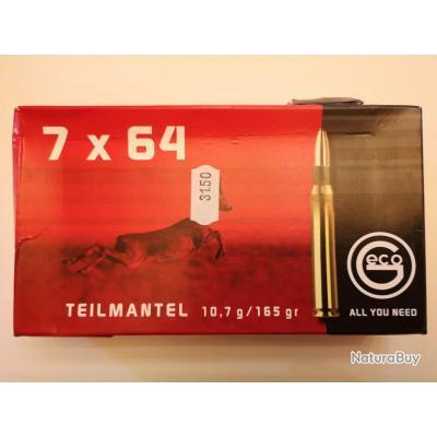 1 boîte de 20 cartouches GECO Demi-Blindées cal 7x64 165gr DESTOCKAGE !!!