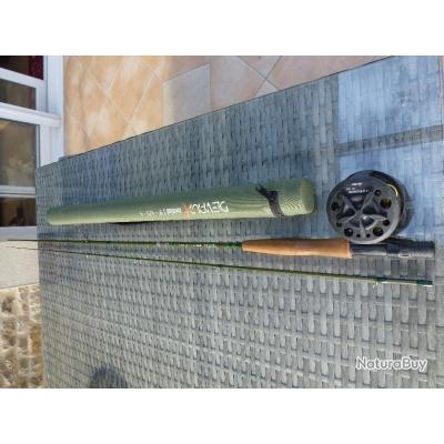 canne du celebre moucheur marque Devaux initial 9pieds soie 5+ moulinet okuma rempli de soie devaux