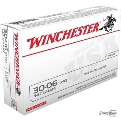 20 MUNITIONS WINCHESTER CALIBRE 30.06 SPRG 147 GRAINS FULL METAL JACKET