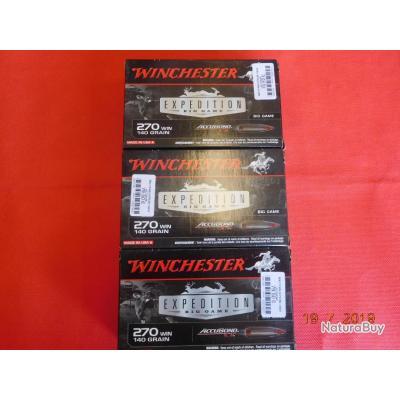 Balles calibre 270 WM Winchester, lot de 3 boites