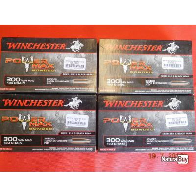 Balles calibre 300 WM Winchester, lot de 4 boites,