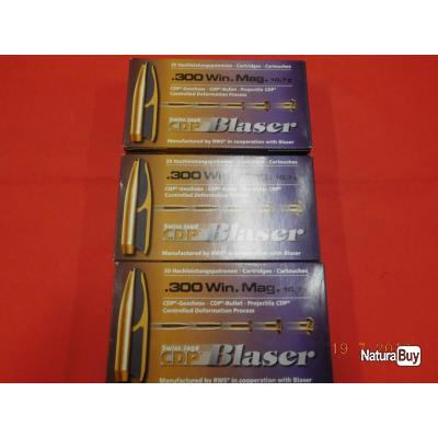 Balles calibre 300 WM Blaser lot de 3 boites