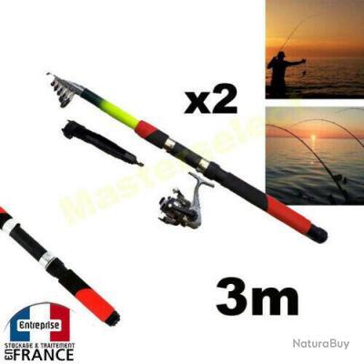 2 x Set Canne à pêche 3m avec moulinet et fils pour bord etang mer enfant adulte