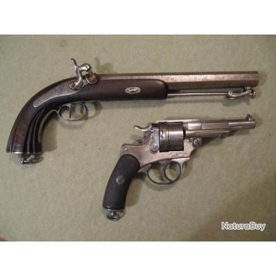 grand pistolet à percussion officier 17.5mm à canon Damas