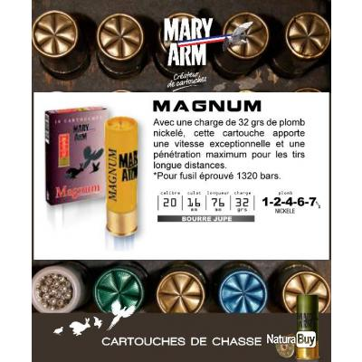 Cartouches MARY ARM MAGNUM Boite de 10 Calibre 20/76