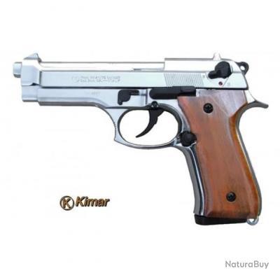 Pistolet a Blanc Semi Automatique Kimar Berreta 92 Chromé Plaque Bois + Malette + Lance Fusée