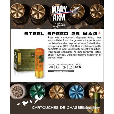 Cartouches MARY ARM STEEL SPEED 28 MAG Boite de 25 Calibre 20/76