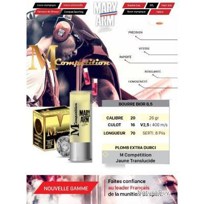 Cartouches MARY ARM MCOMPETITION BOURRE BIOR 8.5 Lot de 500 Calibre 20/70