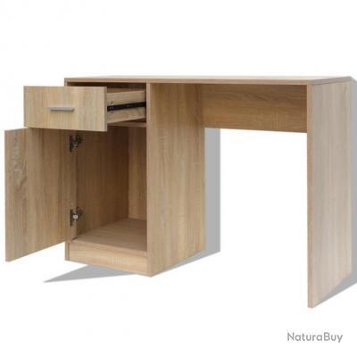 Bureau Table Meuble Travail Informatique Avec Tiroir Et Placard 100 Cm Chene 0502110