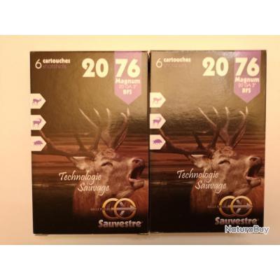 2 boîtes de cartouches à balle Sauvestre calibre 20 Magnum (20/76) SUPER PROMO !!!