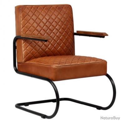 Fauteuil chaise siège lounge design club sofa salon cuir véritable marron  clair 1102126
