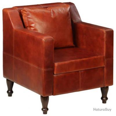 Fauteuil chaise siège lounge design club sofa salon cuir véritable marron  foncé 1102135