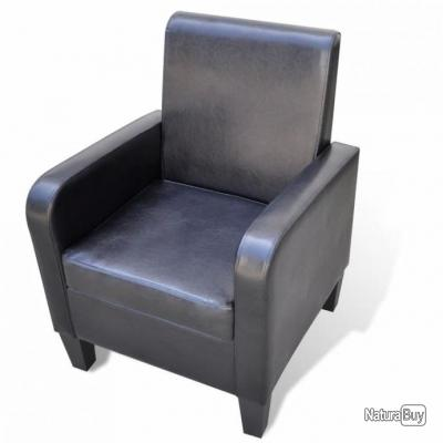 Fauteuil chaise siège lounge design club sofa salon cuir synthétique noir  1102057