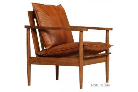Fauteuil chaise siège lounge design club sofa salon cuir véritable avec  bois d\'acacia marron 1102146