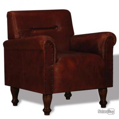 Fauteuil chaise siège lounge design club sofa salon cuir véritable marron  1102111
