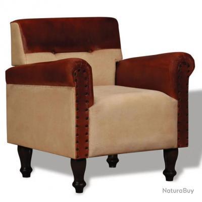 Fauteuil chaise siège lounge design club sofa salon cuir véritable et tissu  marron et beige 1102112
