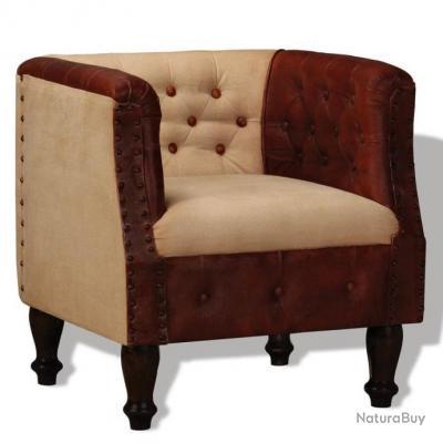Fauteuil chaise siège lounge design club sofa salon cuir véritable et tissu  marron et beige 1102114