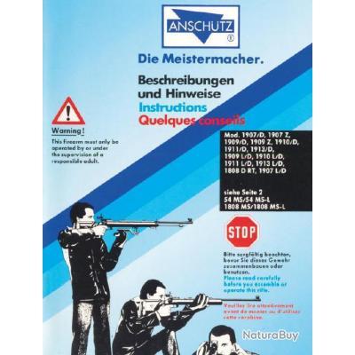 Mode d'emploi carabines Anschütz Match 1907 1909 1910 1911 1913 et 1808