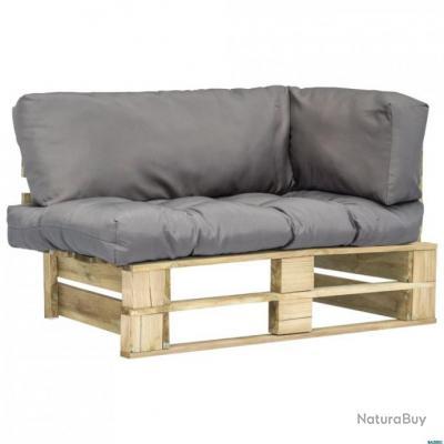 Canapé de jardin palette avec coussins Gris Bois vert FSC