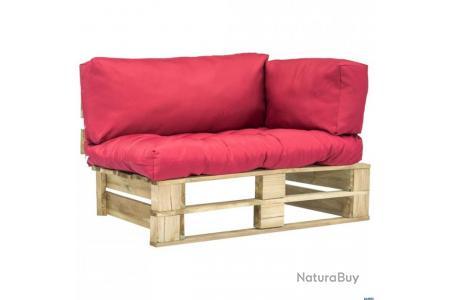 Canapé de jardin palette avec coussins Rouge Bois vert FSC ...